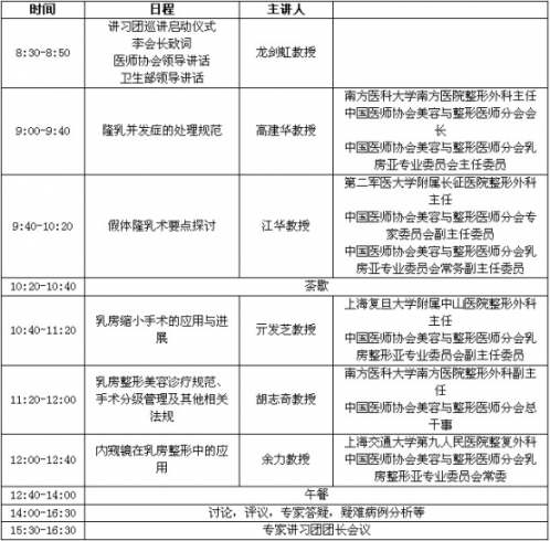 中国美容与整形医师分会2013年全国巡讲计划
