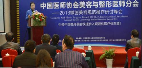 中国医师协会美容与整形医师分会会长高建华教授发表讲话