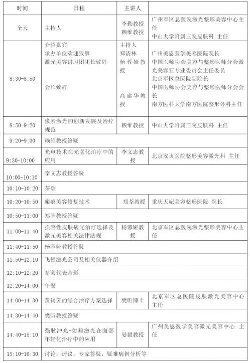 中国医师协会激光巡讲团广州巡讲通知