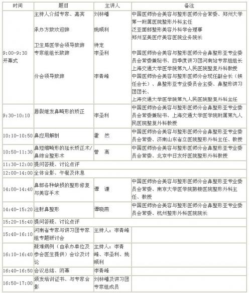 中国医师协会鼻整形讲习团第四站巡讲通知